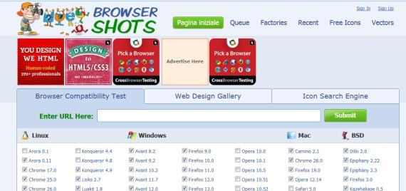 Schermata principale di browser shots