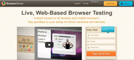 Schermata principale di BrowserStack