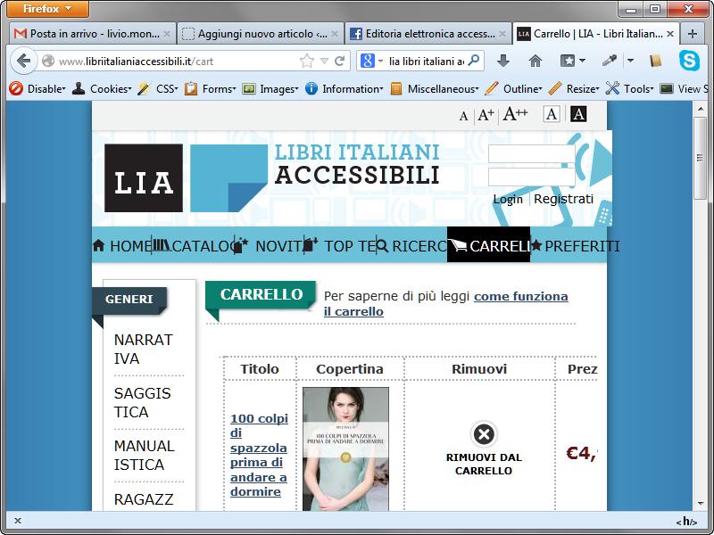 Il sito LIA a 800x600 dimensione del carattere standard è inutilizzabile.