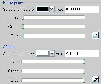 Interfaccia per la selezione dei colori