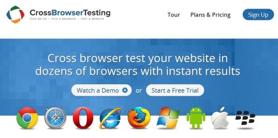 Schermata principale di Cross Browser Testing