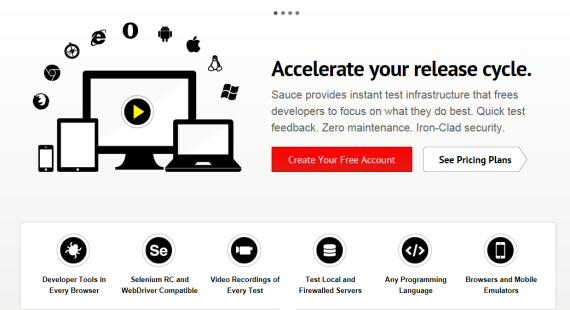 Schermata principale di Sauce Labs