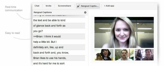 Esempio di utilizzo di Hangout Captions